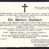 Belon Gellért gyászjelentése.
