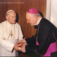 II. János Pál pápa és Belon Gellért találkozása. (Róma, é. n.)